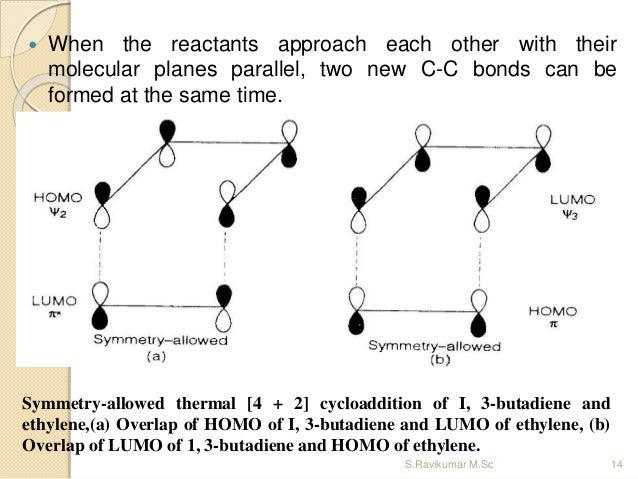  When the reactants approach each other with their molecular planes parallel, two new C-C bonds can be formed at the same...