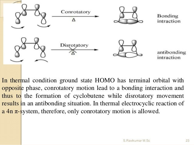 In thermal condition ground state HOMO has terminal orbital with opposite phase, conrotatory motion lead to a bonding inte...