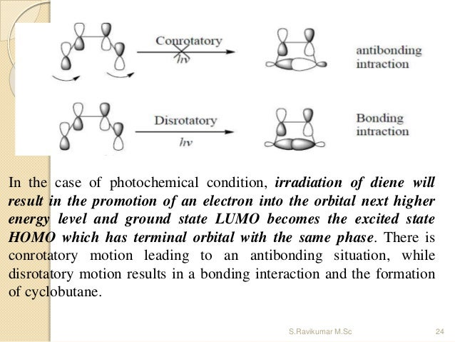 In the case of photochemical condition, irradiation of diene will result in the promotion of an electron into the orbital ...