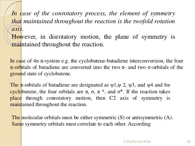 In case of 4n π-system e.g. the cyclobutene-butadiene interconversion, the four π-orbitals of butadiene are converted into...
