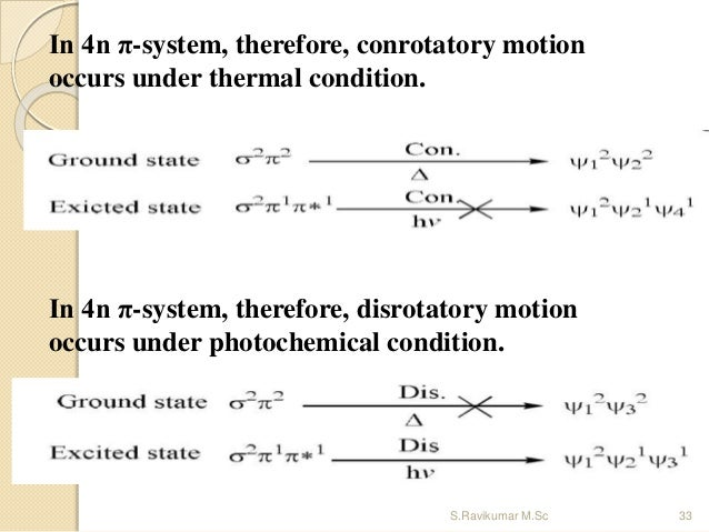 In 4n π-system, therefore, disrotatory motion occurs under photochemical condition. In 4n π-system, therefore, conrotatory...