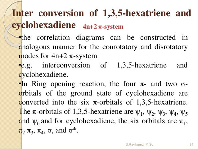 Inter conversion of 1,3,5-hexatriene and cyclohexadiene 4n+2 π-system •the correlation diagrams can be constructed in anal...