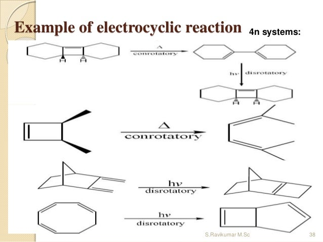 Example of electrocyclic reaction 4n systems: 38S.Ravikumar M.Sc