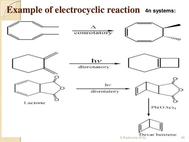 Example of electrocyclic reaction 4n systems: 39S.Ravikumar M.Sc