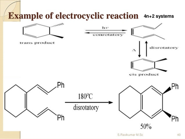 Example of electrocyclic reaction 4n+2 systems 40S.Ravikumar M.Sc