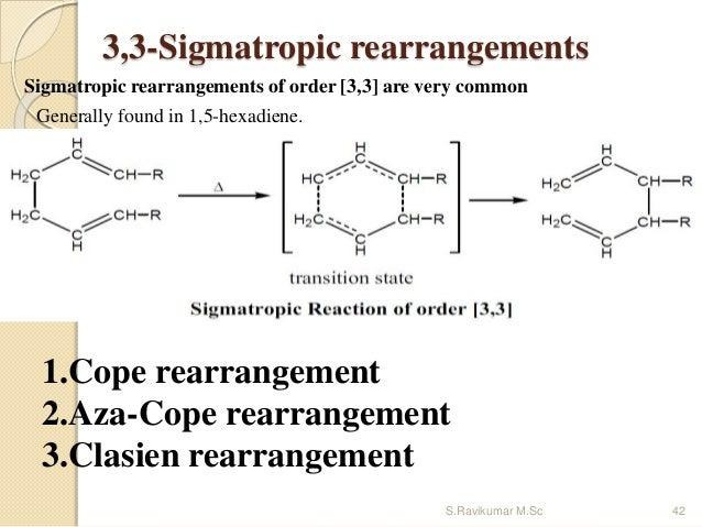 3,3-Sigmatropic rearrangements Sigmatropic rearrangements of order [3,3] are very common Generally found in 1,5-hexadiene....