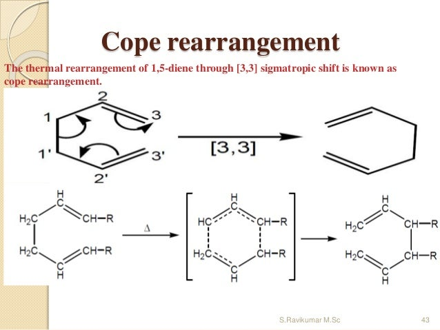 Cope rearrangement The thermal rearrangement of 1,5-diene through [3,3] sigmatropic shift is known as cope rearrangement. ...