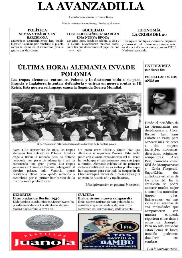 LA AVANZADILLALa información en primera líneaMurcia. 2 de septiembre de 1939. Precio: 25 céntimosPOLÍTICASEMANA TRÁGICA EN...