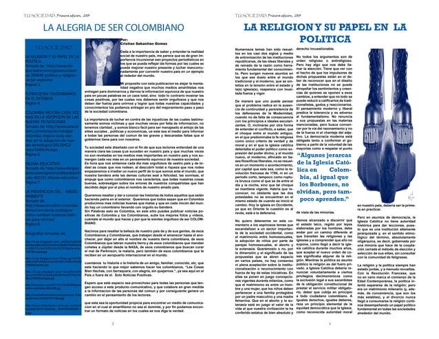 TU SOCIEDAD, Primera edicion, 2013                                                                                        ...