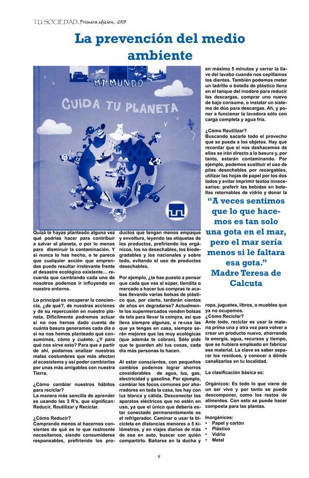 TU SOCIEDAD, Primera edicion, 2013                  La prevención del medio                         ambiente              ...