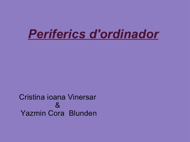 Periferics d'ordinador Cristina ioana Vinersar  &  Yazmin Cora Blunden
