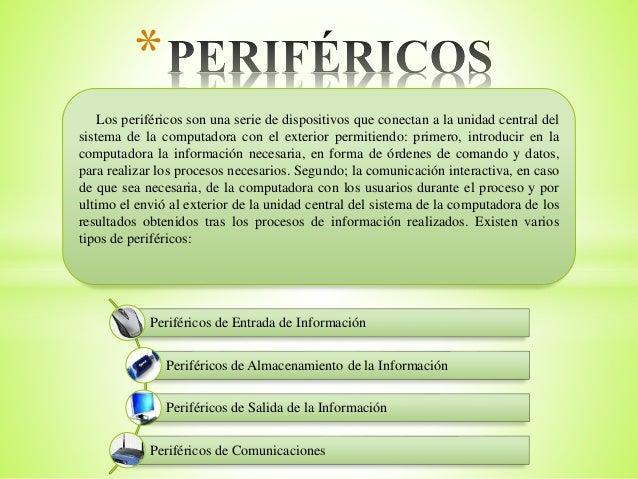 * Los periféricos son una serie de dispositivos que conectan a la unidad central del sistema de la computadora con el exte...
