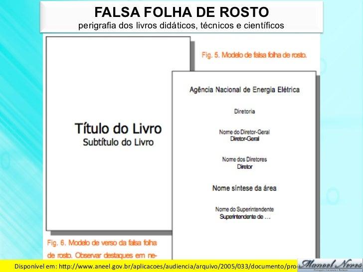FALSA FOLHA DE ROSTO                     perigrafia dos livros didáticos, técnicos e científicosDisponível em: hdp://w...