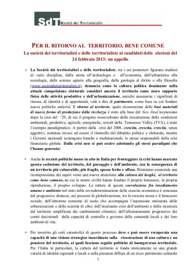 PER IL RITORNO AL TERRITORIO, BENE COMUNELa società dei territorialisti e delle territorialiste ai candidati delle elezion...