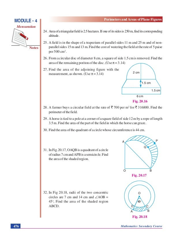 Perimeters And Areas Of Plane Figures Mensuration