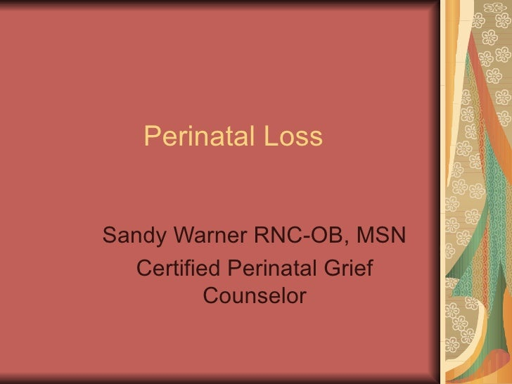 Perinatal Loss Sandy Warner RNC-OB, MSN Certified Perinatal Grief Counselor
