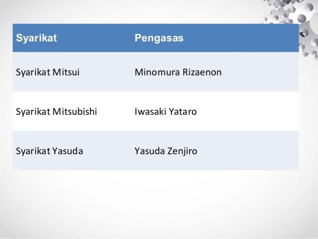 Syarikat Pengasas Syarikat Mitsui Minomura Rizaenon Syarikat Mitsubishi Iwasaki Yataro Syarikat Yasuda Yasuda Zenjiro