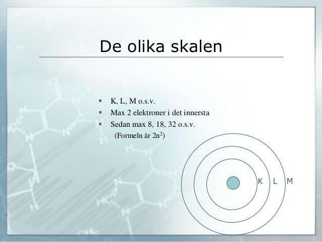 De olika skalen  K, L, M o.s.v.  Max 2 elektroner i det innersta  Sedan max 8, 18, 32 o.s.v. (Formeln är 2n2) K L M