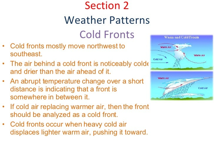 Section 2 Weather Patterns Cold Fronts <ul><li>Cold fronts mostly move northwest to southeast. </li></ul><ul><li>The air b...