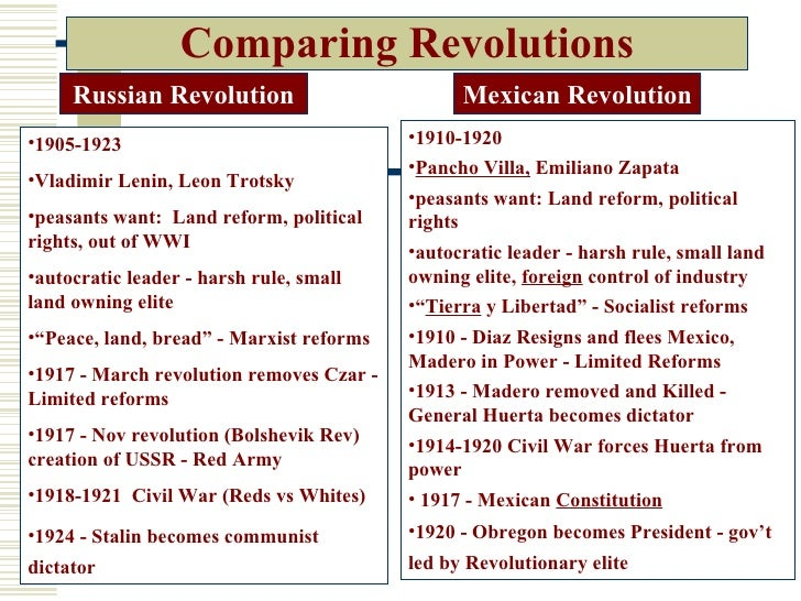a comparison of the russian and the mexican revolution Causes, effects, people and countries involved of the world war i, the mexican revolution, the russian revolution, the chinese revolution and the.