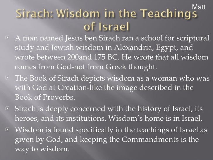 the book of sirach book analysis A book analysis is a description, critical analysis, and an evaluation on the quality, meaning, and significance of a book, not a retelling it should focus on the book's purpose, content, and authority a critical book review is not a book report or a summary it is a reaction paper in.