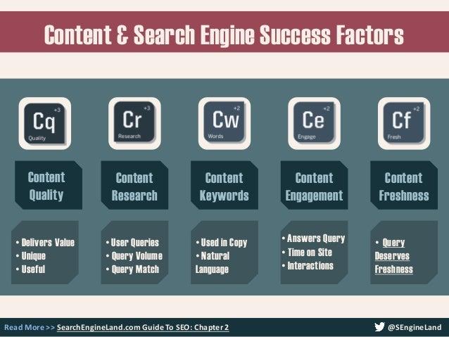 Content & Search Engine Success Factors Read More >> SearchEngineLand.com Guide To SEO: Chapter 2 @SEngineLand Content Qua...