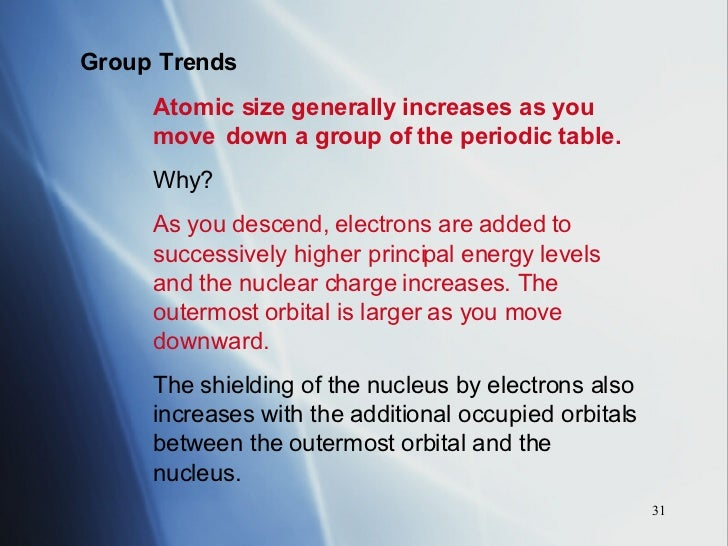 Periodic table chapter 14 31 group trends atomic size generally increases as you move down urtaz Gallery