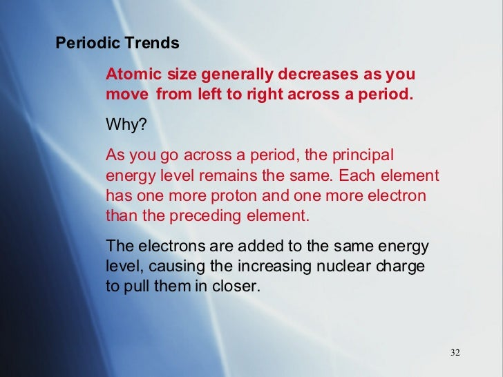 As you move across the periodic table atomic mass generally periodic table chapter 14 periodic trends atomic size generally decreases as you move from left to urtaz