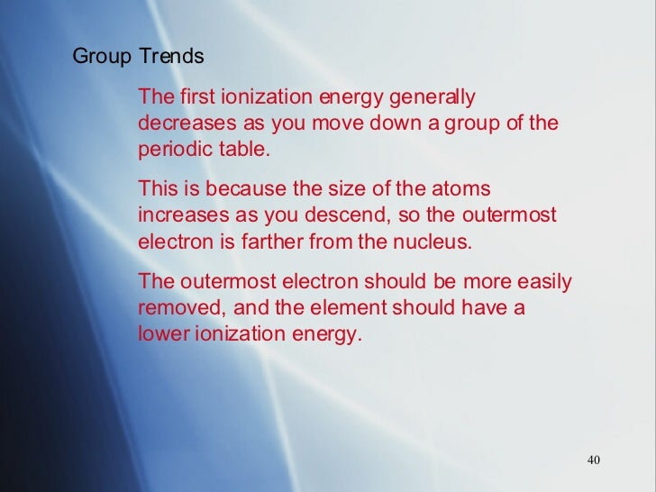 Periodic table chapter 14 40 group trends the first ionization energy generally decreases as you move down urtaz Gallery