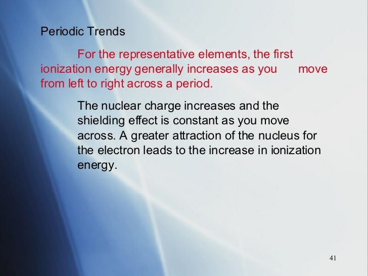 Periodic table chapter 14 periodic trends for the representative elements the first ionization energy generally increases as you move from left to right across urtaz Image collections