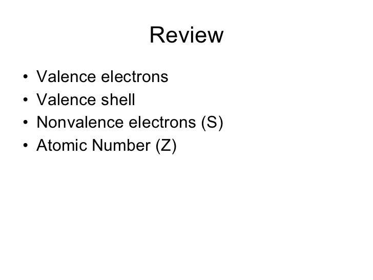 Review <ul><li>Valence electrons </li></ul><ul><li>Valence shell </li></ul><ul><li>Nonvalence electrons (S) </li></ul><ul>...