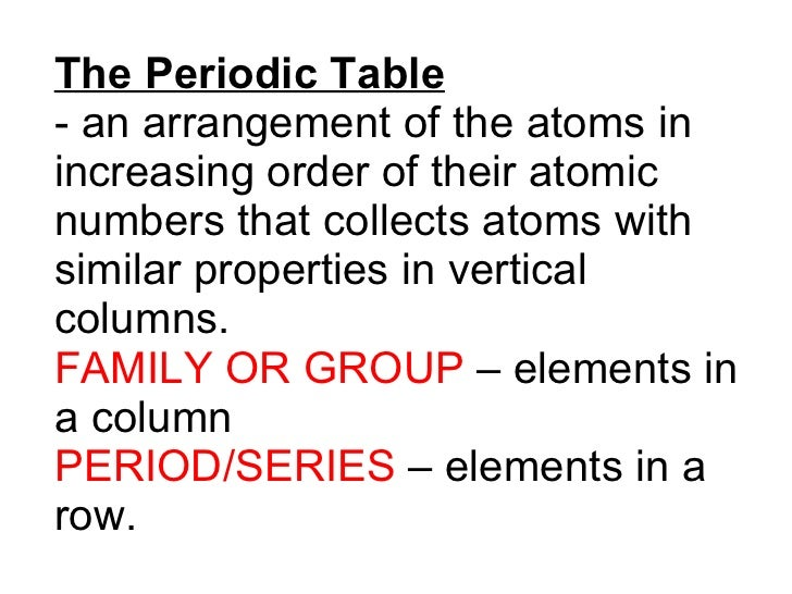 The Periodic Table - an arrangement of the atoms in increasing order of their atomic numbers that collects atoms with simi...
