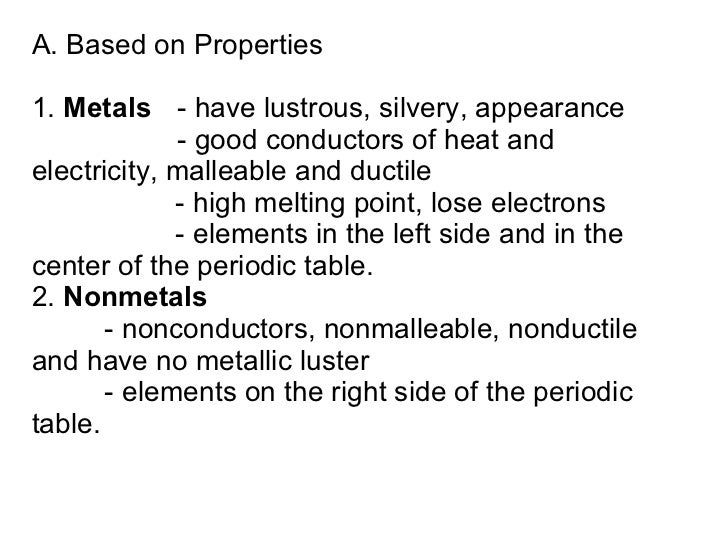 A. Based on Properties 1.  Metals - have lustrous, silvery, appearance - good conductors of heat and  electricity, malleab...