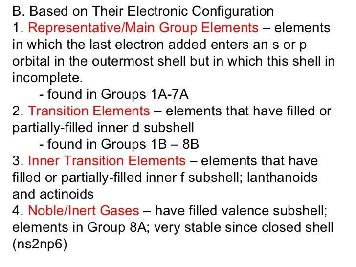 B. Based on Their Electronic Configuration 1.  Representative/Main Group Elements  – elements in which the last electron a...