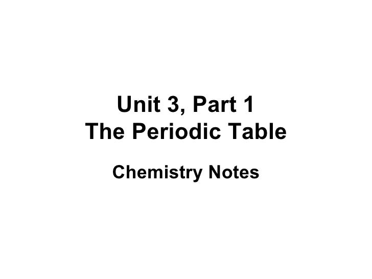 Unit 3, Part 1 The Periodic Table Chemistry Notes