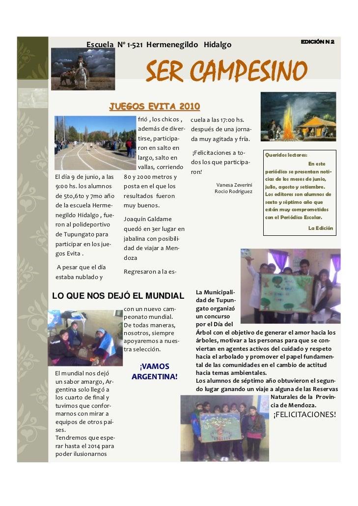 EDICIÓN N 2            EscuelaNº1‐521HermenegildoHidalgo                                     SER CAMPESI...