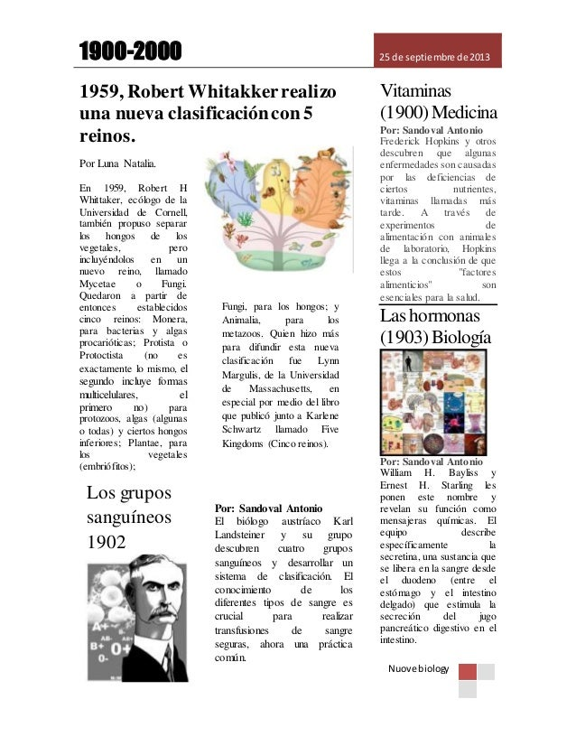 1900-2000 25 de septiembre de 2013 Nuove biology 1959, Robert Whitakkerrealizo una nueva clasificacióncon 5 reinos. . Vita...