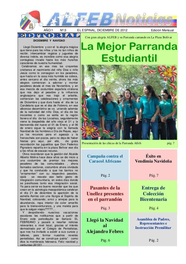 AÑO:1         Nº:3          EL ESPINAL, DICIEMBRE DE 2012                          Edición Mensual                        ...