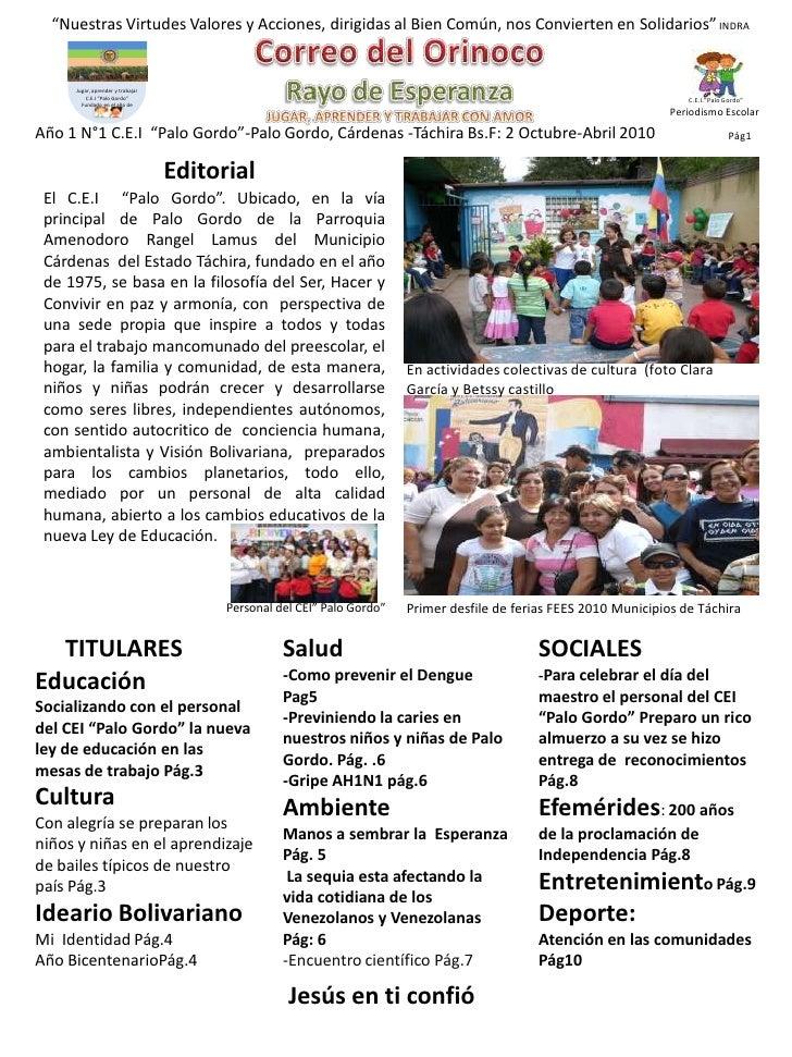 Periodico escolar correo del orinoco palo gordo for Estructura de un periodico mural escolar