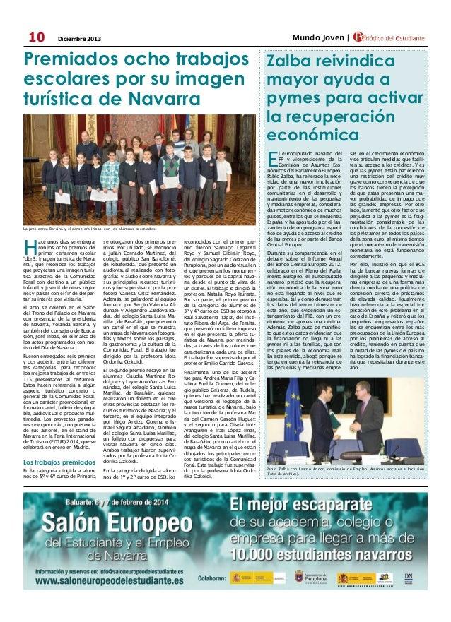 10  Mundo Joven    Diciembre 2013  Premiados ocho trabajos Zalba reivindica escolares por su imagen mayor ayuda a pymes pa...