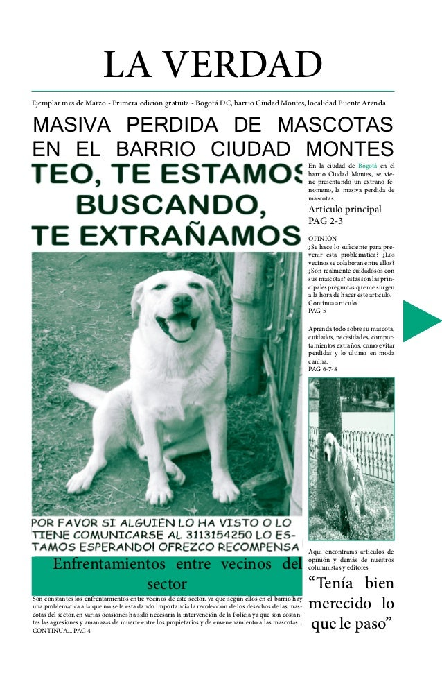 LA VERDAD Ejemplar mes de Marzo - Primera edición gratuita - Bogotá DC, barrio Ciudad Montes, localidad Puente Aranda MASI...