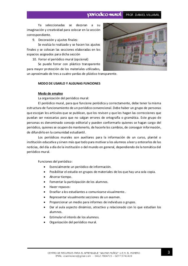 Periodico mural for El periodico mural y sus secciones