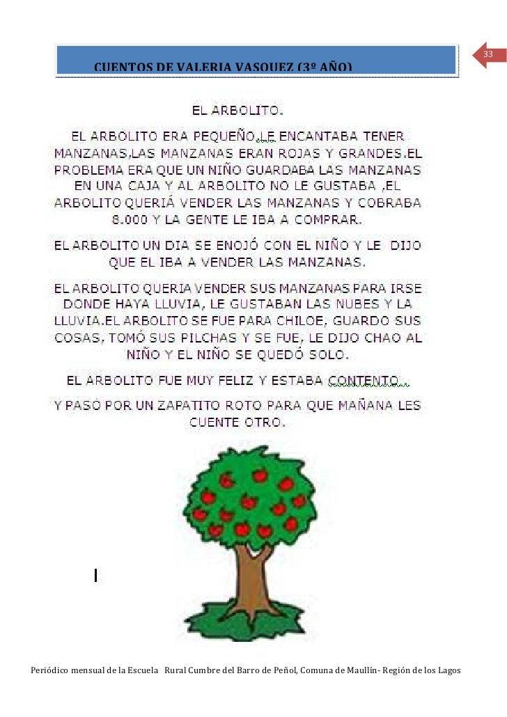 33               CUENTOS DE VALERIA VASQUEZ (3º AÑO)Periódico mensual de la Escuela Rural Cumbre del Barro de Peñol, Comun...