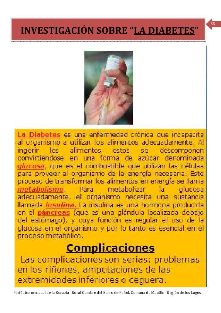 """35    INVESTIGACIÓN SOBRE """"LA DIABETES""""Periódico mensual de la Escuela Rural Cumbre del Barro de Peñol, Comuna de Maullín-..."""