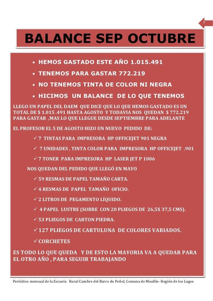 7      BALANCE SEP OCTUBRE           • HEMOS GASTADO ESTE AÑO 1.015.491           • TENEMOS PARA GASTAR 772.219           ...