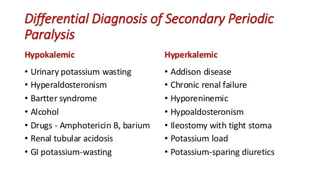 periodic paralysis syndrome Hypokalemic periodic paralysis (pp) is the most common of the periodic paralyses, but is still quite rare, with an estimated prevalence of 1 in 100,000  hypokalemic pp may be familial with autosomal dominant inheritance or may be acquired in patients with thyrotoxicosis [ 2-7 .