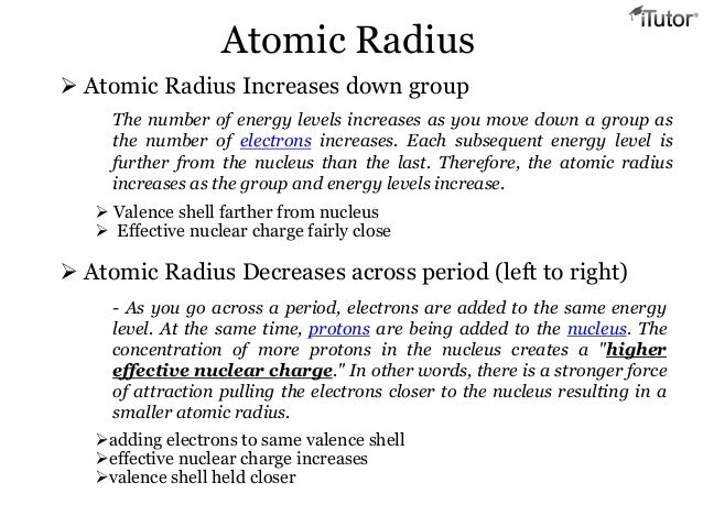 Periodic relationships 4 valence shell farther from nucleus effective nuclear charge fairly close atomic radius decreases across period left to right urtaz Choice Image