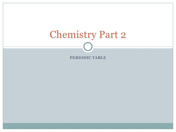 PERIODIC TABLE Chemistry Part 2