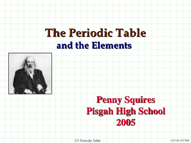 The Periodic Table  and the Elements              Penny Squires            Pisgah High School                   2005     3...