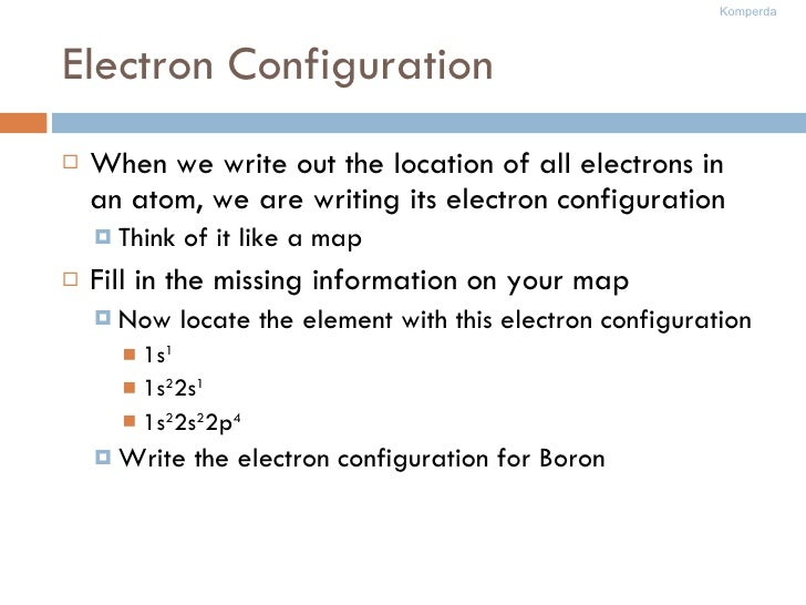 Electron Configuration <ul><li>When we write out the location of all electrons in an atom, we are writing its electron con...